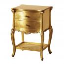 Gold Leaf Versailles French 2 Drawer Bedside with Rattan Shelf