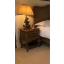 Villeneuve Oak French Style Bedside Table with 2 Drawers