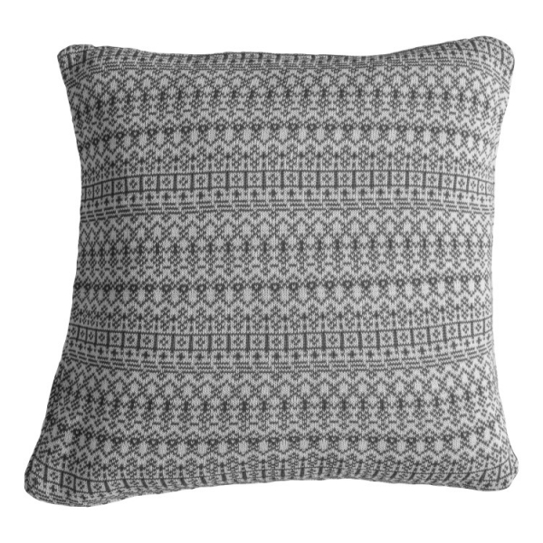 Knitted Fairisle Cushion Grey