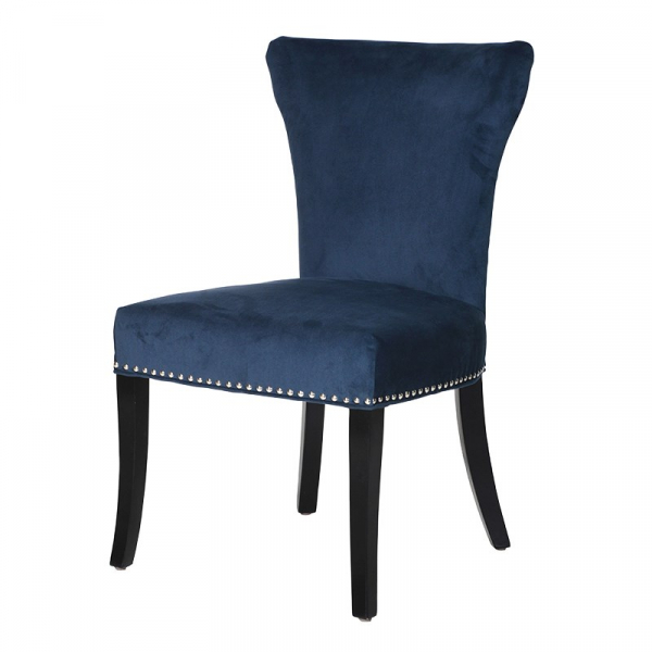 Blue Upholstered Dining Chair with Silver Stoods