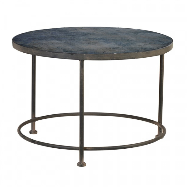Blue Pattern Glass Top Glass Coffee Table Side View