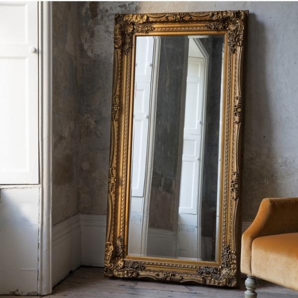 Carved Louis Leaner Mirror Gold Leaf
