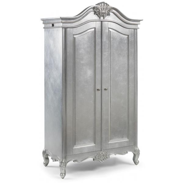 Cristal French Silver Leaf 2 Door Wardrobe