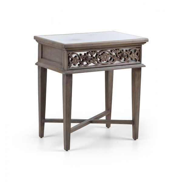 Dorset Contemporary Flower Carvings Sidetable