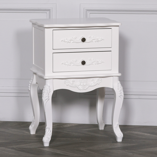 Etienne Petite French White Bedside Table