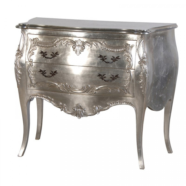 Fleur Silver Leaf French 2 Drawer Bombe Chest of Drawers