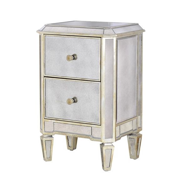 Aged Bedside Table with 2 Drawers