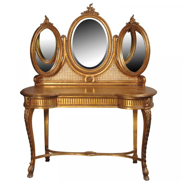 French Versailles Dressing Table with Triple Mirror