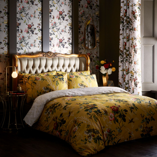 Gold Leaf French Button Bed With Leighton Ochre Bedding