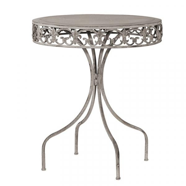 Grey-Wash Round Metal Garden Table