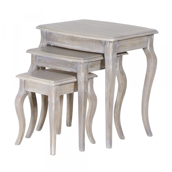 Helene Grey Lime Washed French Nest Of 3 Tables