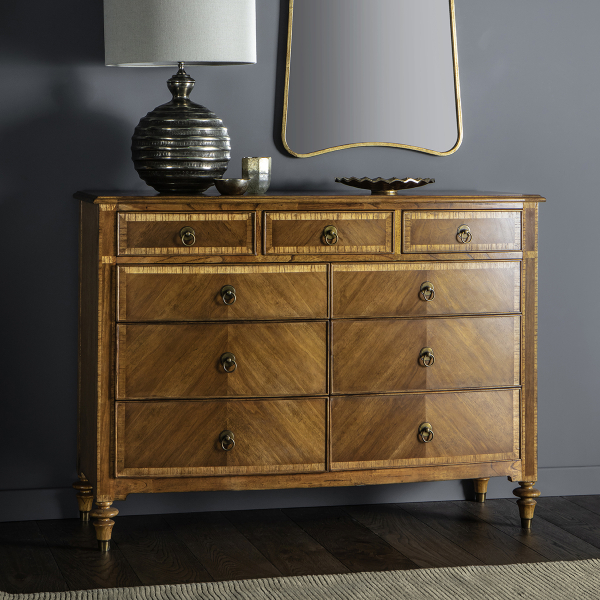 Lille Sleigh 6 Drawer Wide Bedroom Chest