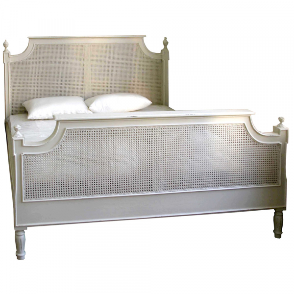 Louis Painted French Style Rattan Bed