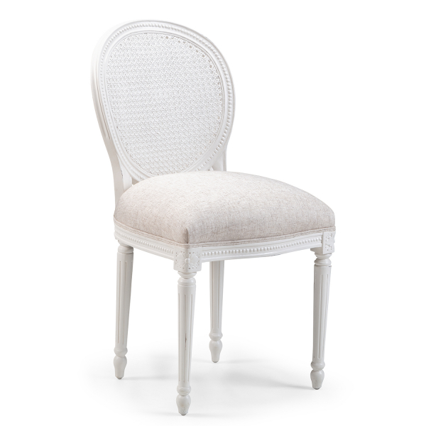 Lyon French Beaumont Dining Chair / finished in Chalk & Vintage Cream Linen fabric