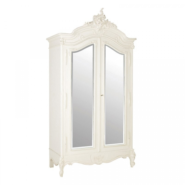 Antique White Provencale French 2 Door Mirrored Armoire