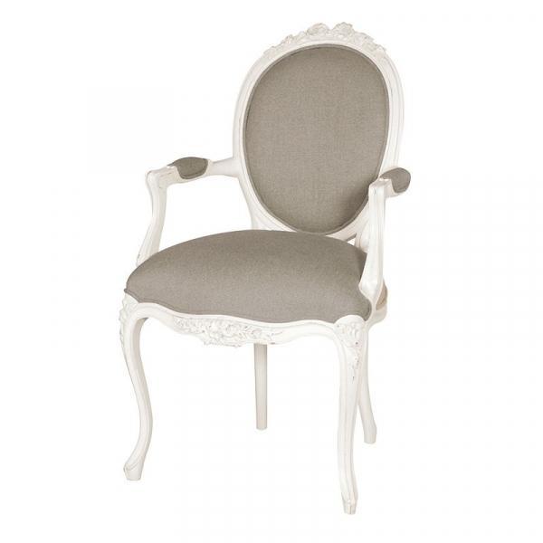 Provencale Antique White Ribbon Armchair Linen Upholstered