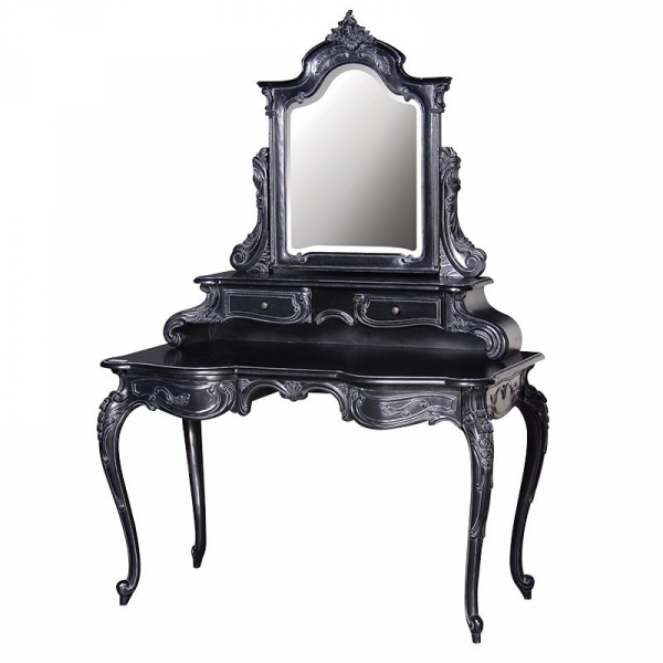 Rochelle Noir French Dressing Table with Mirror