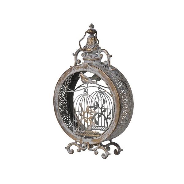 Round Metal Lantern with Birdcage
