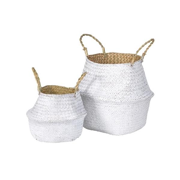 Set of 2 White Grass Baskets