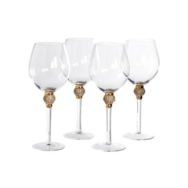 Set of 4 Gold Crystal Red Wine Glasses