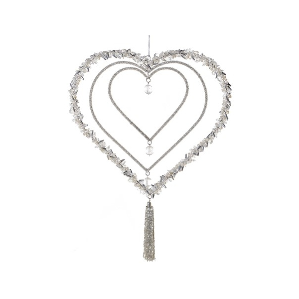 Silver Beaded Triple Heart Ornament