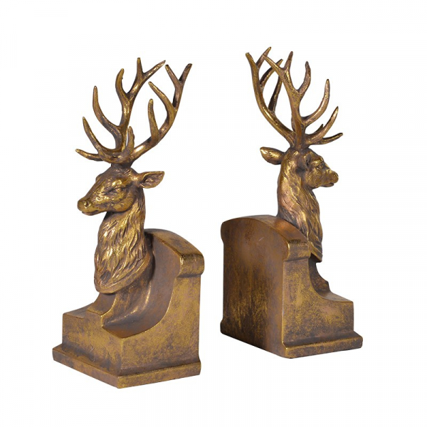Bronze Stag Head Bookends